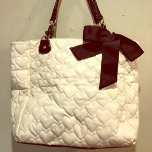 Betsey Johnson White and black patent tote
